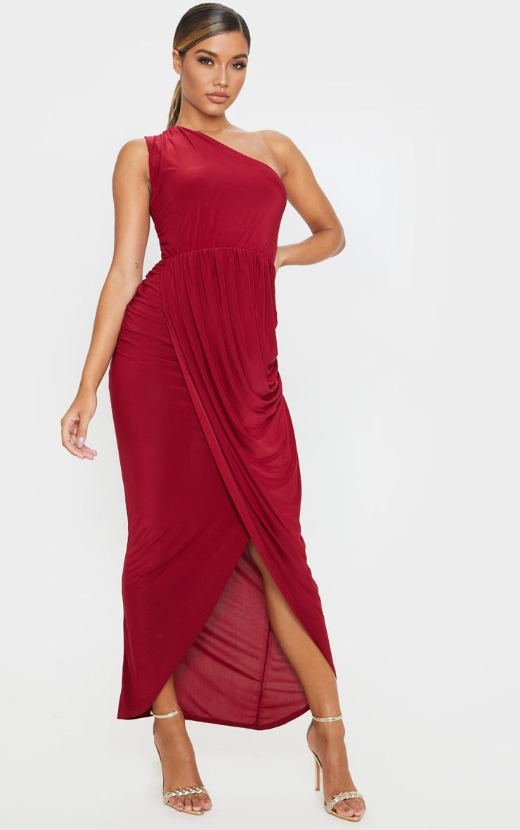 Burgundy Slinky Drape Detail One Shoulder Maxi Dress 4