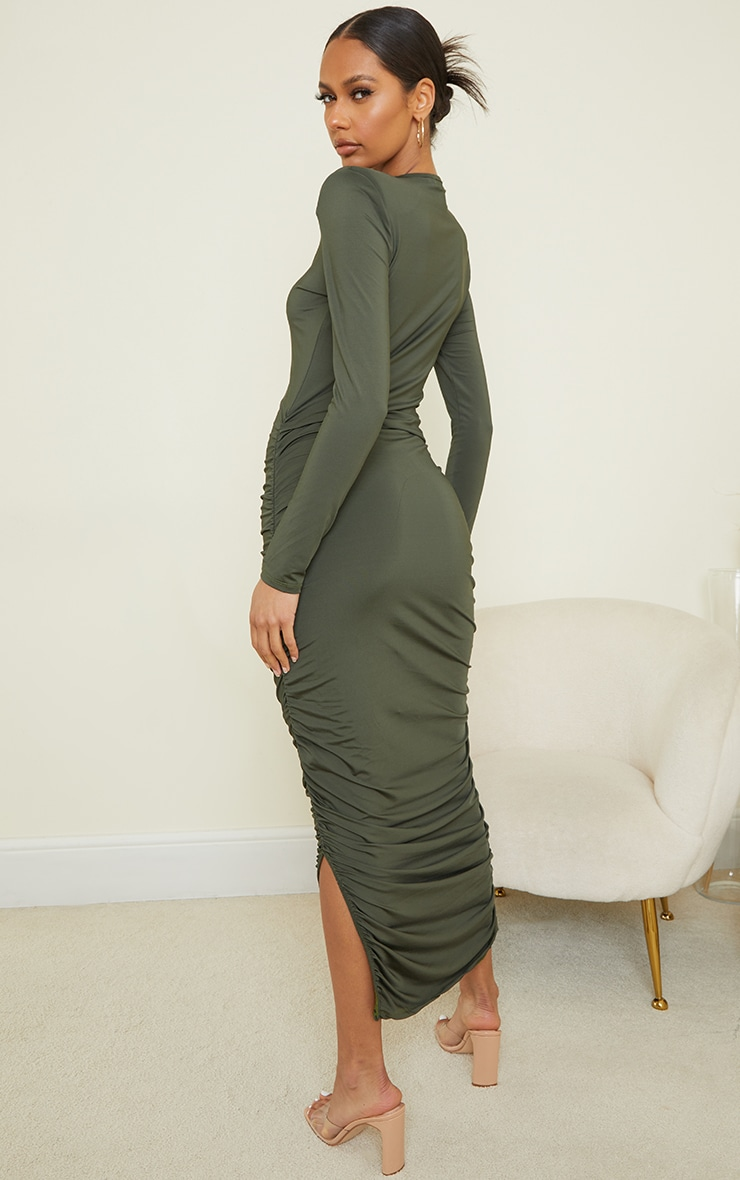 Khaki Slinky Shoulder Pad Ruched Long Sleeve Midaxi Dress 2