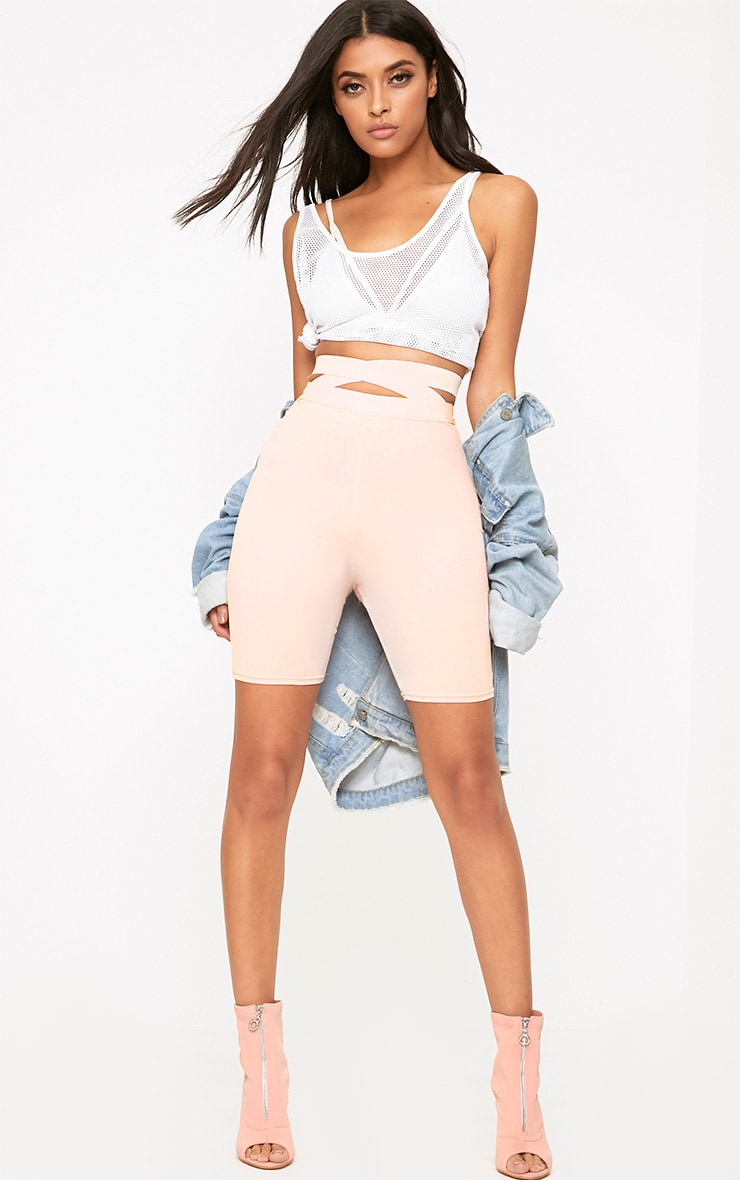 Nude Strappy Waist Cycle Shorts 5