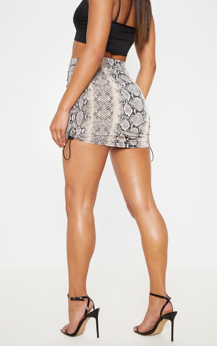 Stone Slinky Snake Print Ruched Side Toggle Mini Skirt 5