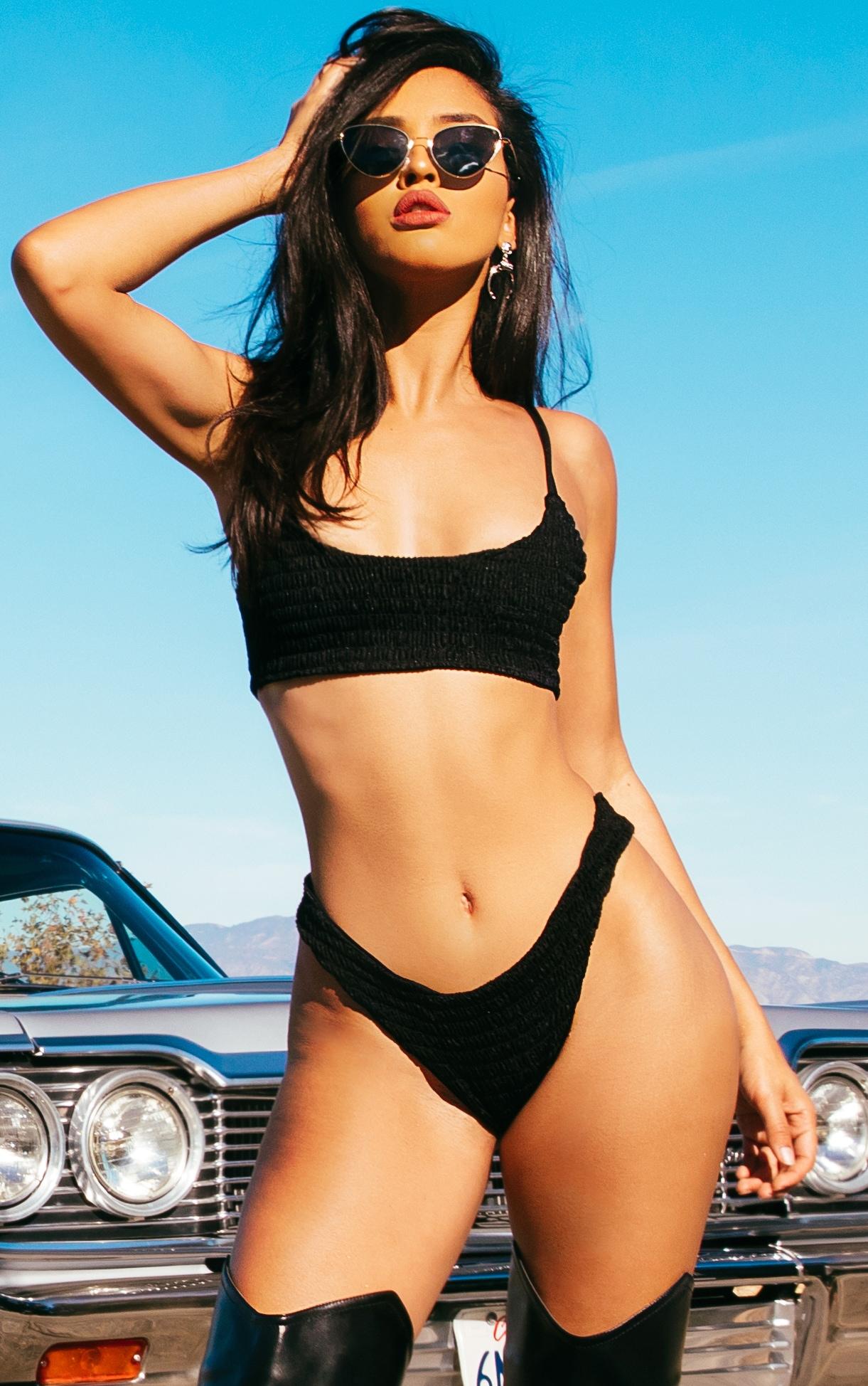 Black Crinkle Brazilian Thong Bikini Bottom 5