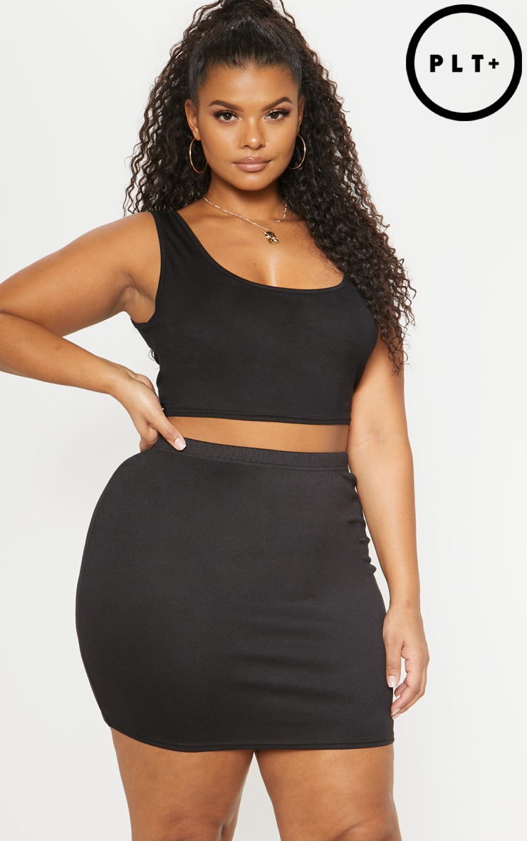 Plus Black Second Skin Ponte Mini Skirt 1