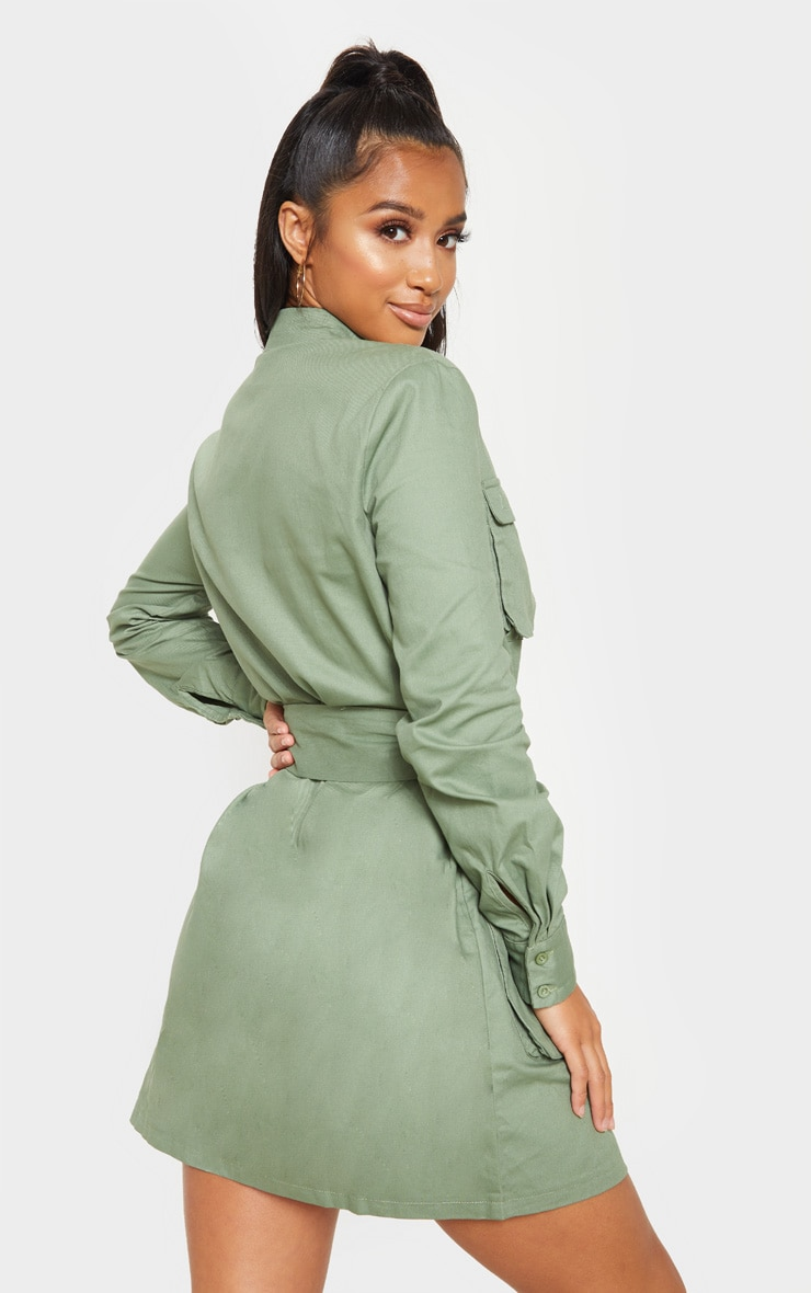 Petite Olive Khaki Utility Tie Waist Shirt Dress 2