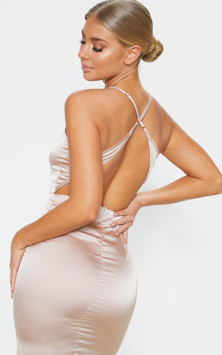 Nude Satin Backless Slip Dress 5