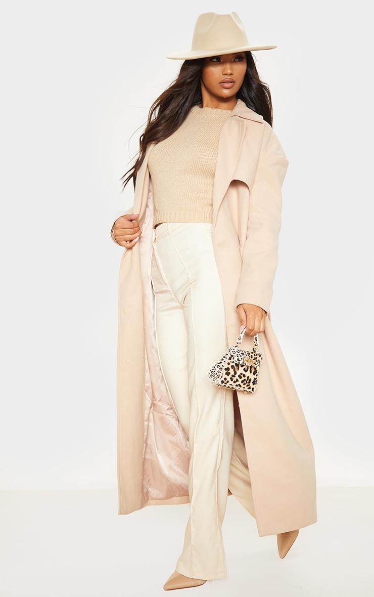 Stone Maxi Belted Coat 4