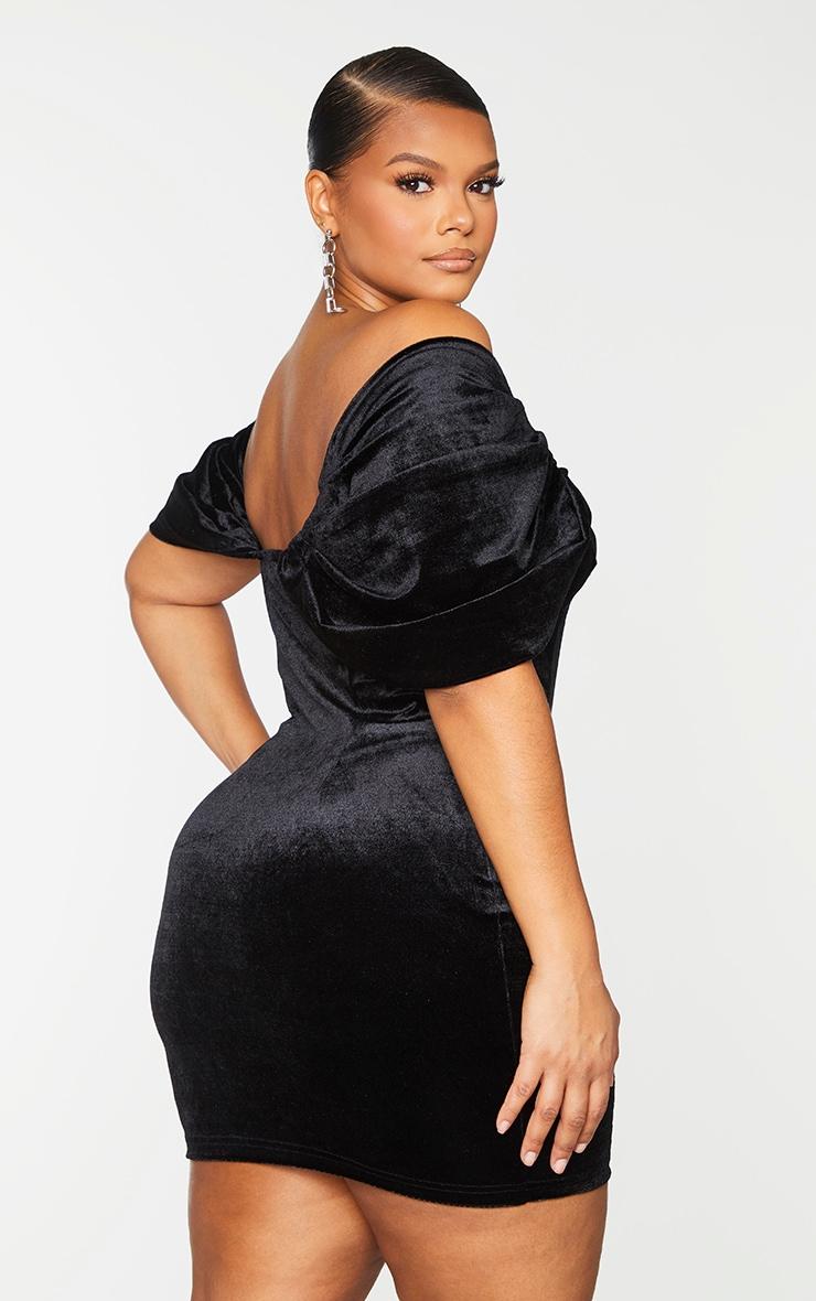Plus Black Velvet V Bar Bodycon Dress 2