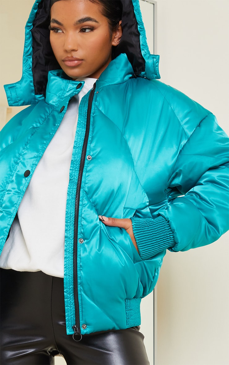 Green Satin Quilted Cuff Hem Puffer Jacket 4