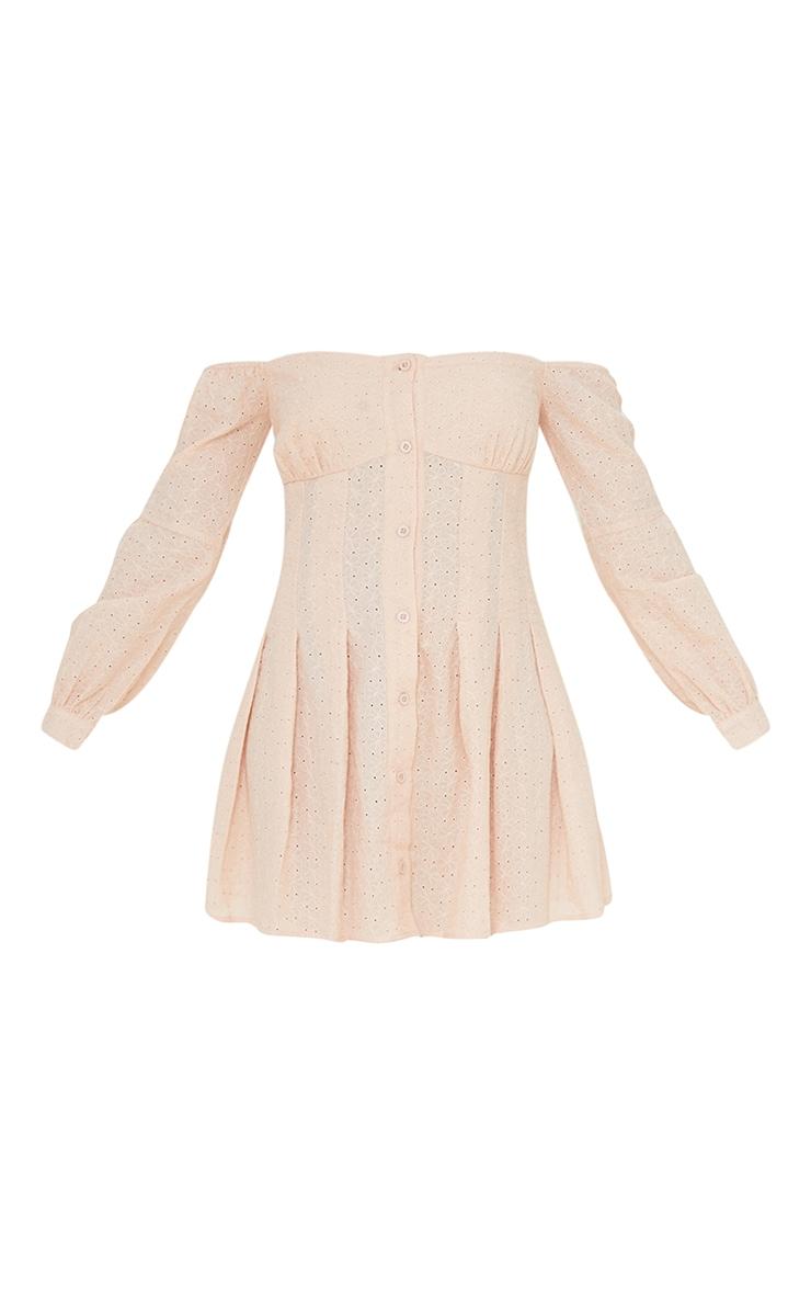 Stone Broderie Anglaise Pleated Bardot Shift Dress 5