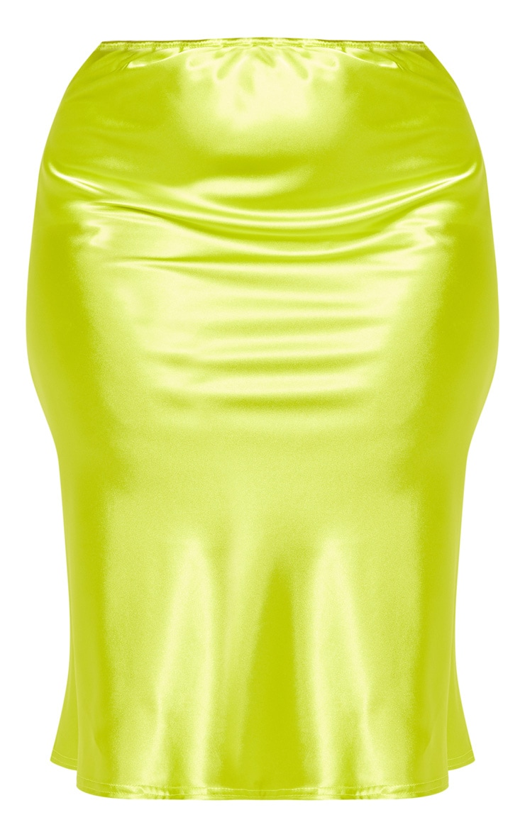 Plus Neon Lime Satin Midi Skirt 3
