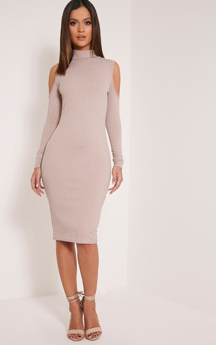 Kellie Taupe Cold Shoulder Ribbed Bodycon Dress 1