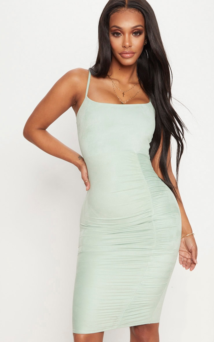 Shape Sage Green Faux Suede Ruched Midi Dress 1