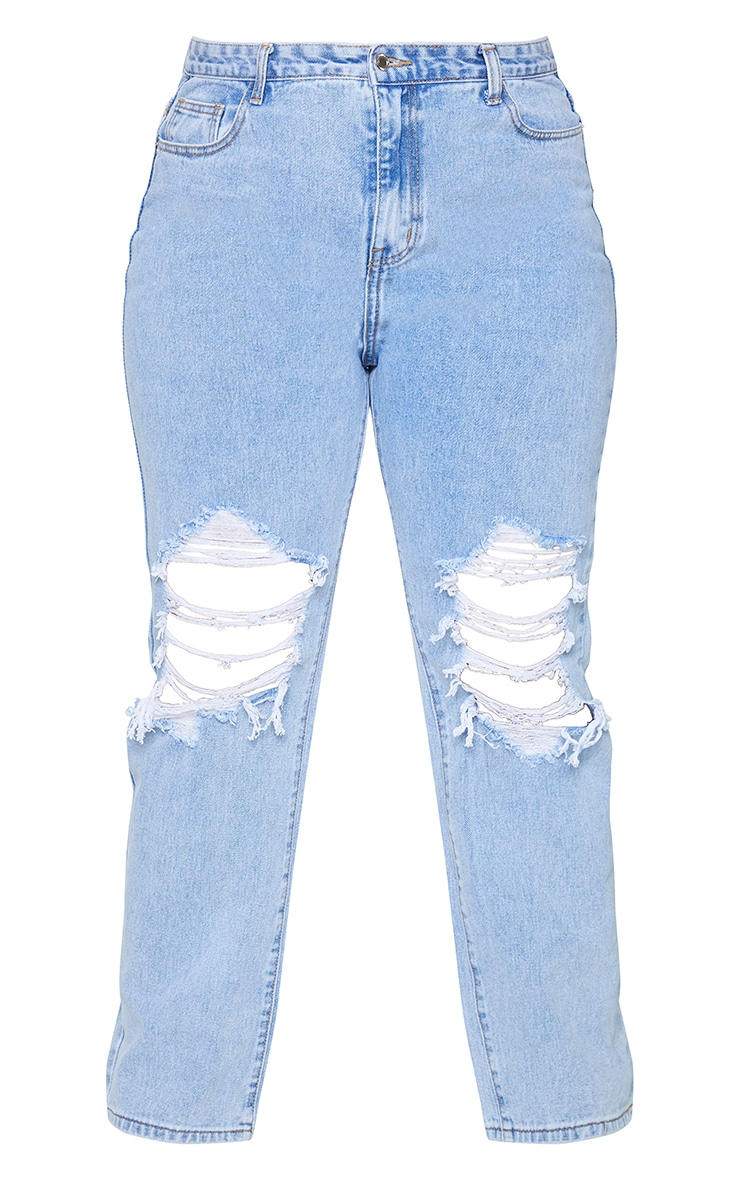 Plus Light Blue Wash Ripped Knee Long Leg Straight Jeans 5
