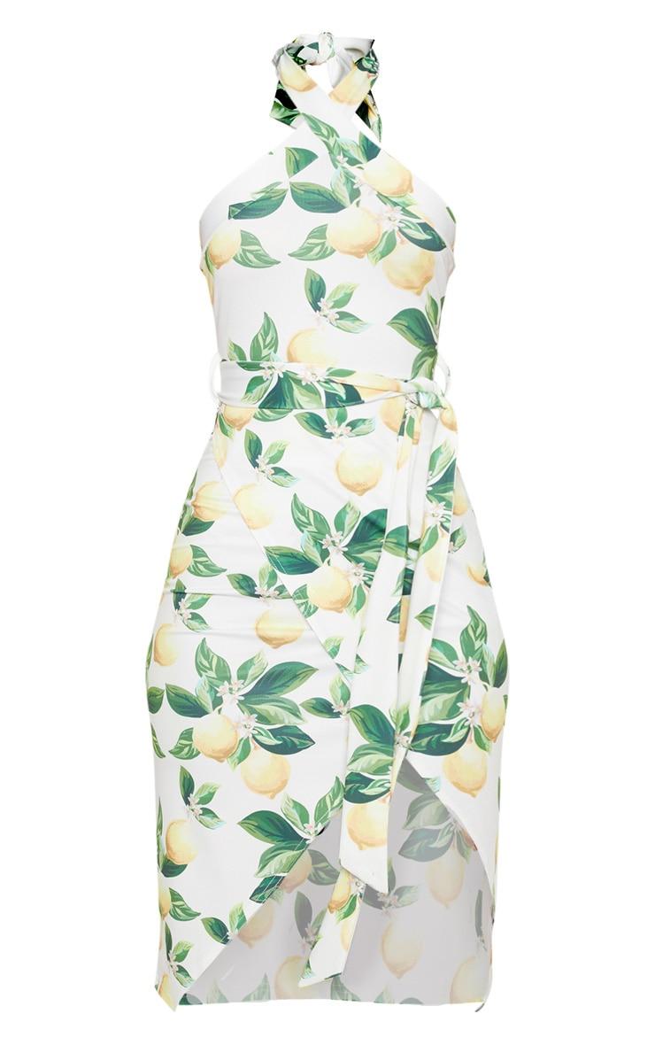 White Lemon Print Cross Neck Wrap Midi Dress 3