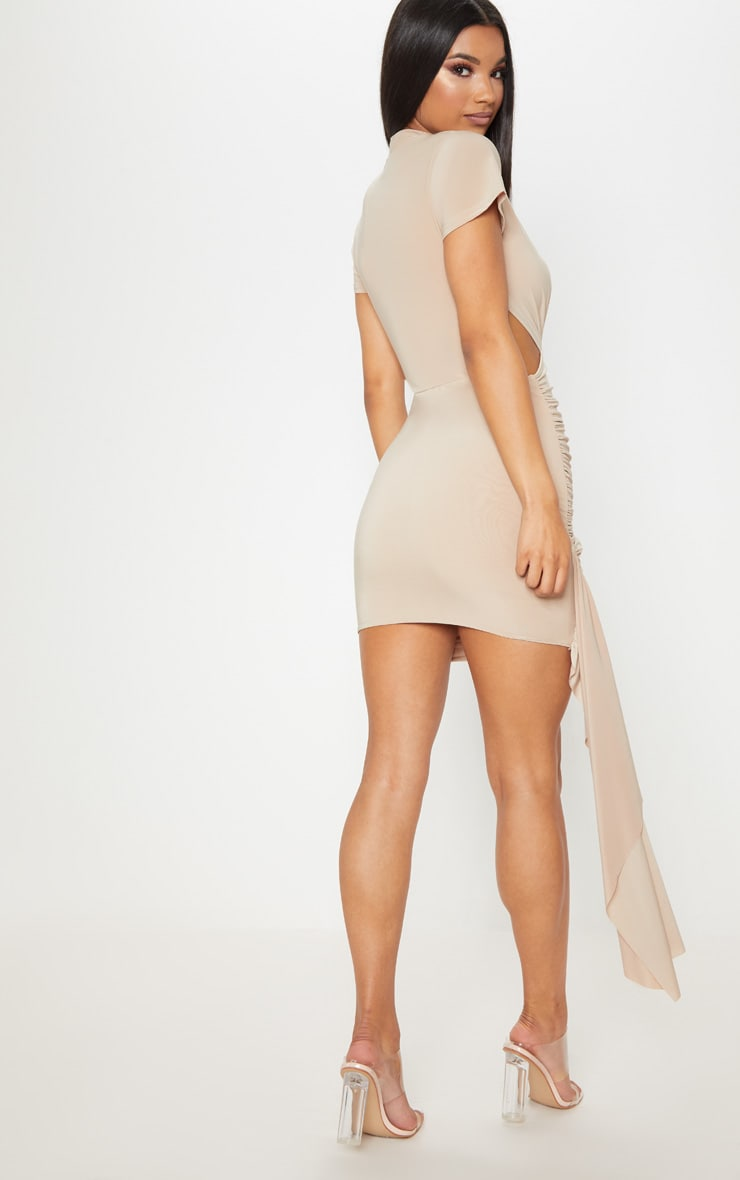 Stone Ruched Cut Out Detail Drape Bodycon Dress 2