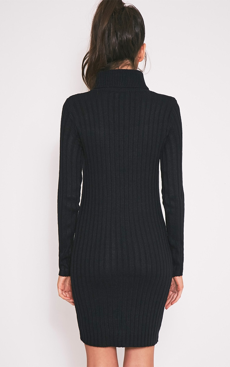 Bianca Black Ribbed Roll Neck Knitted Dress 2