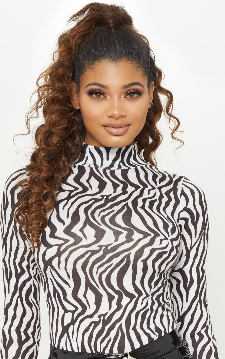 Tall White Zebra Print Roll Neck Bodysuit 6