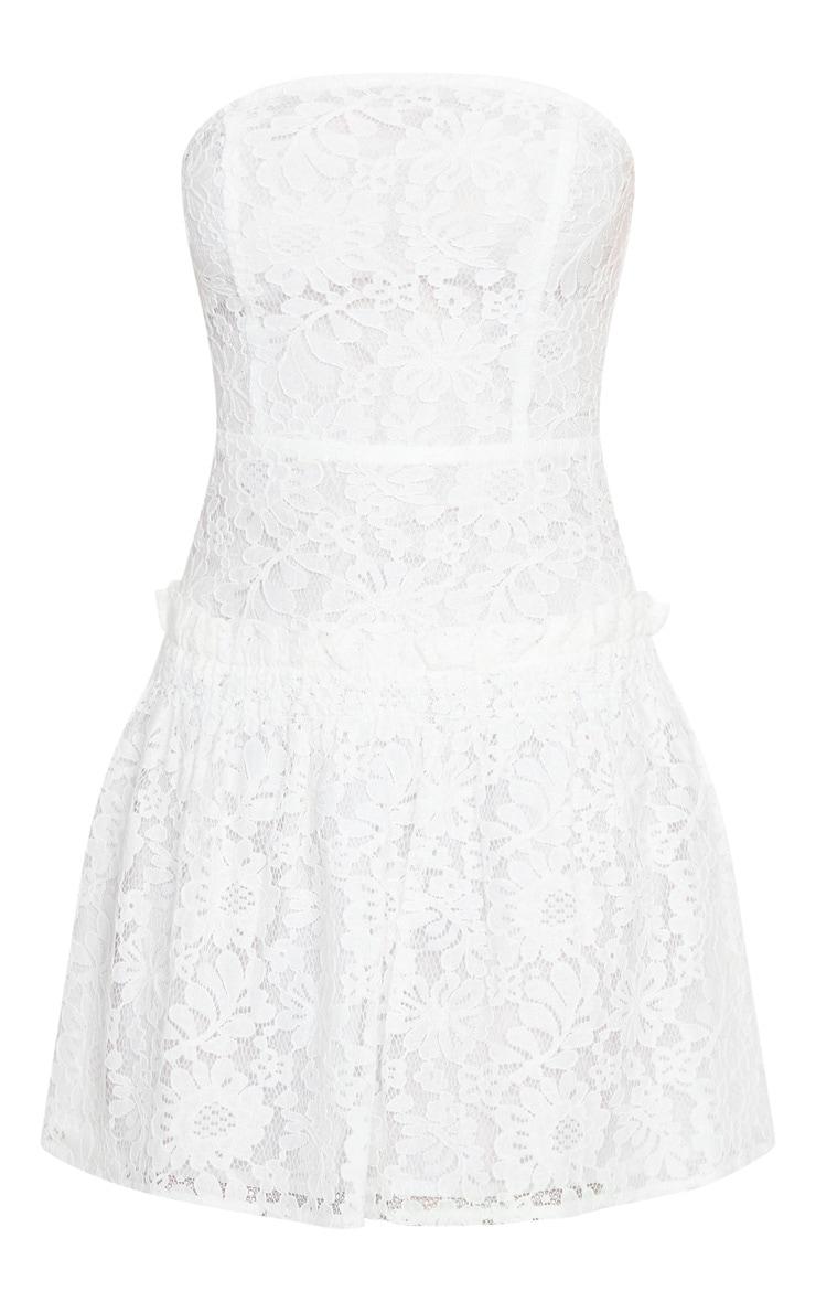 White Lace Bandeau Frill Hem Skater Dress 5