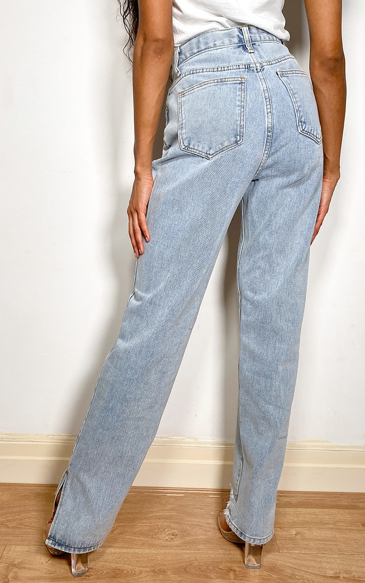 Light Blue Wash Distressed Split Hem Straight Leg Jeans 2
