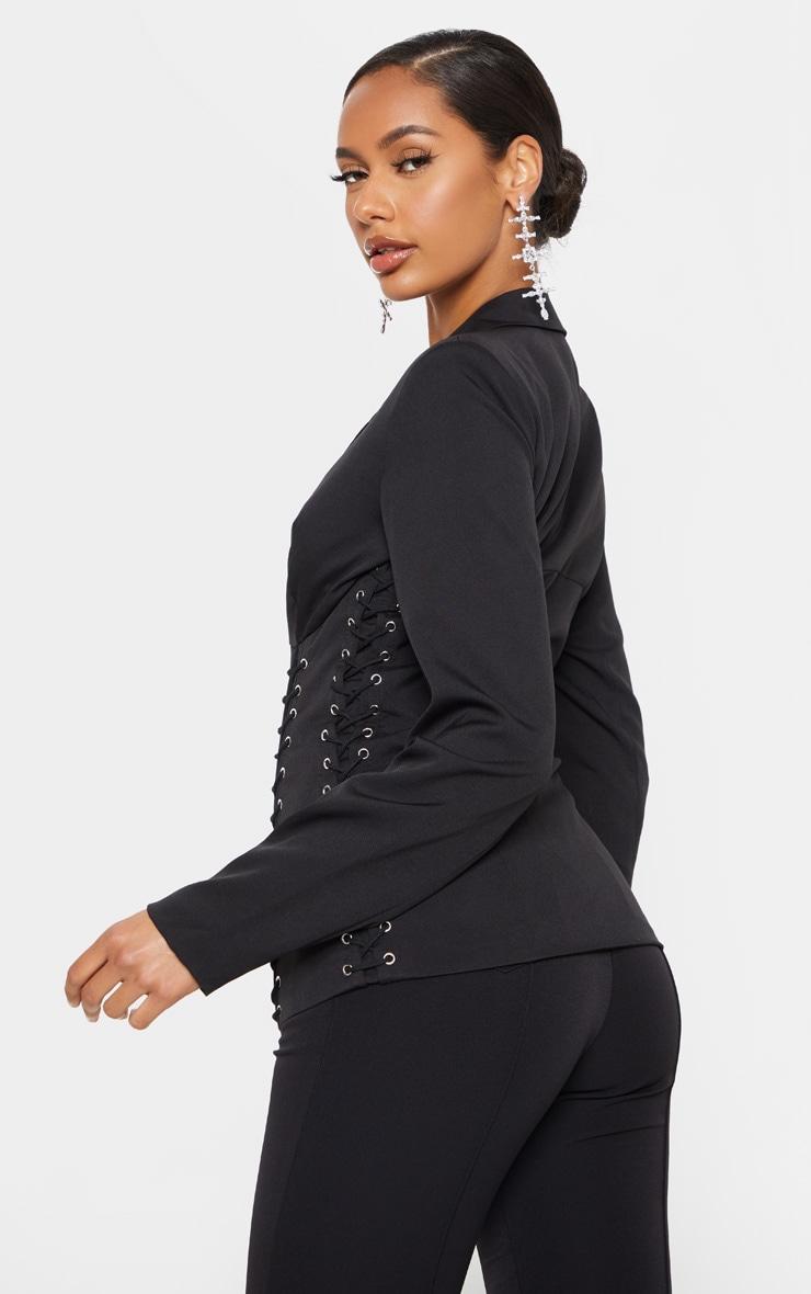 Black Boned Lace Up Corset Blazer 2