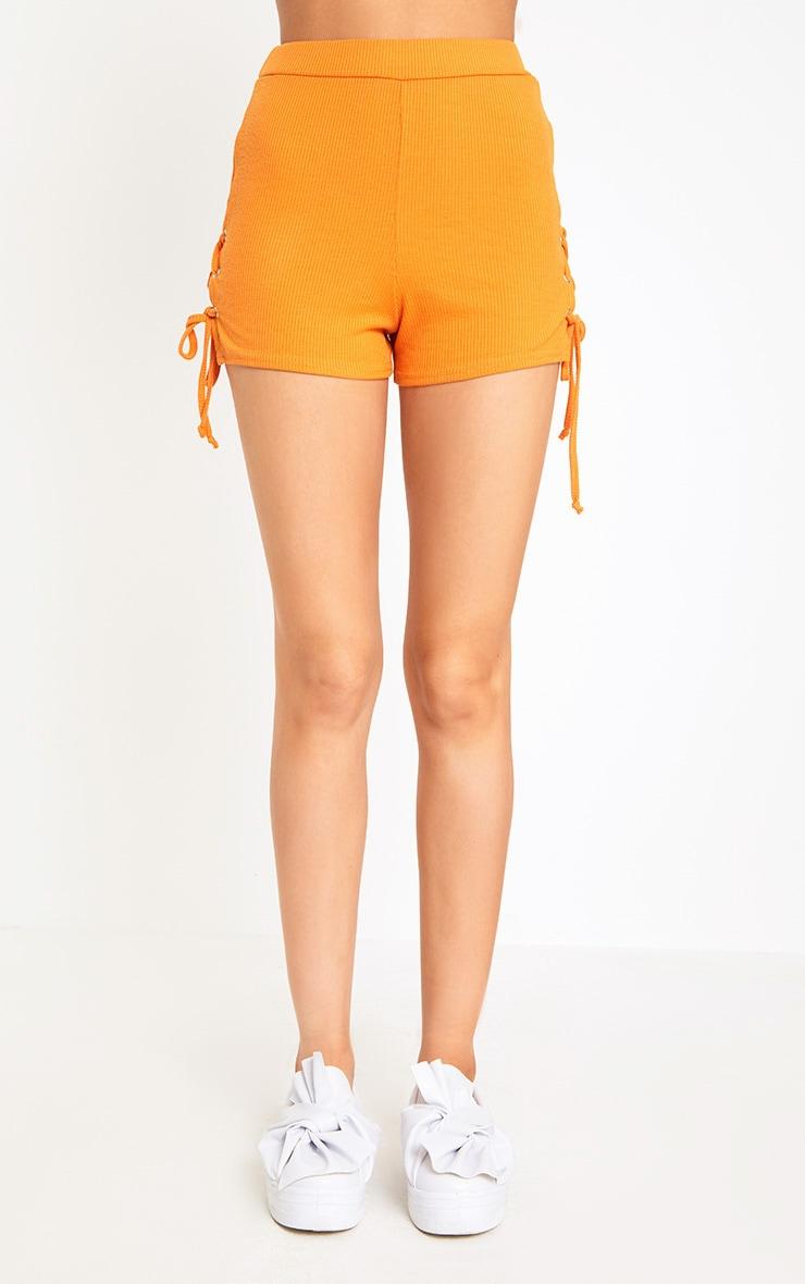 Orange Ribbed Lace Up Shorts 2