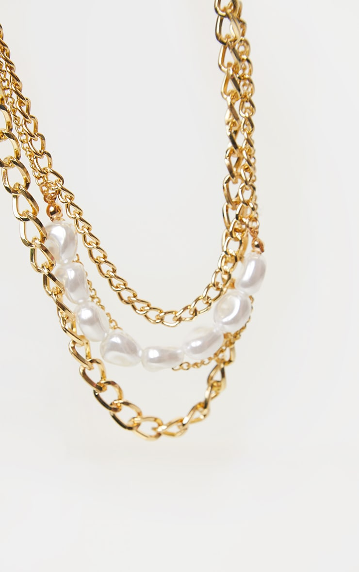 Gold Layered Chain Pearl Necklace 3