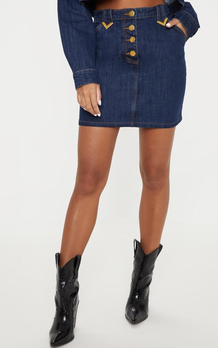 Mid Wash Tip Western Detail Denim Skirt 2