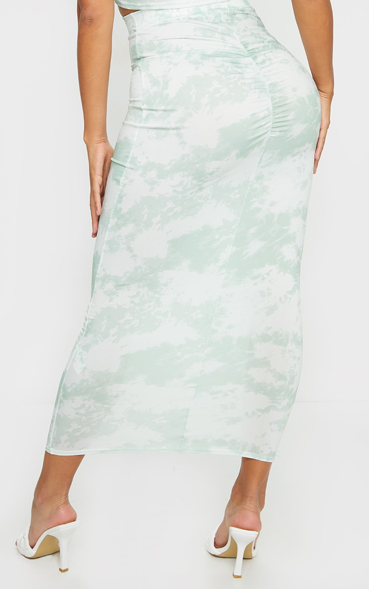 Shape Sage Green Tie Dye Ruched Bum Maxi Skirt 3