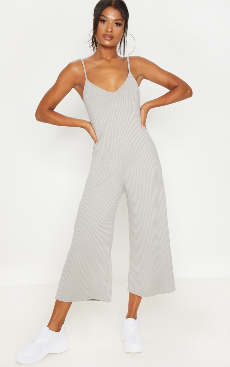 Grey Marl Ribbed V Neck Oversized Jumpsuit