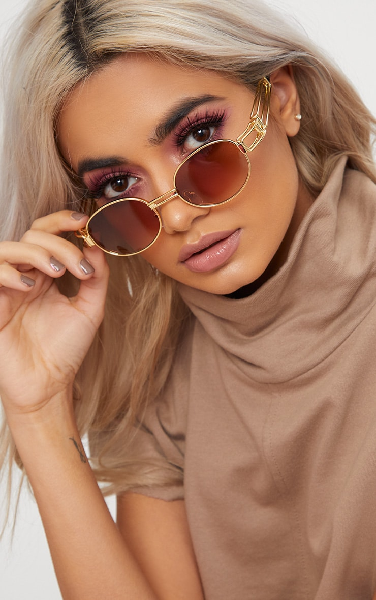 Gold Oval Metal Frame Sunglasses