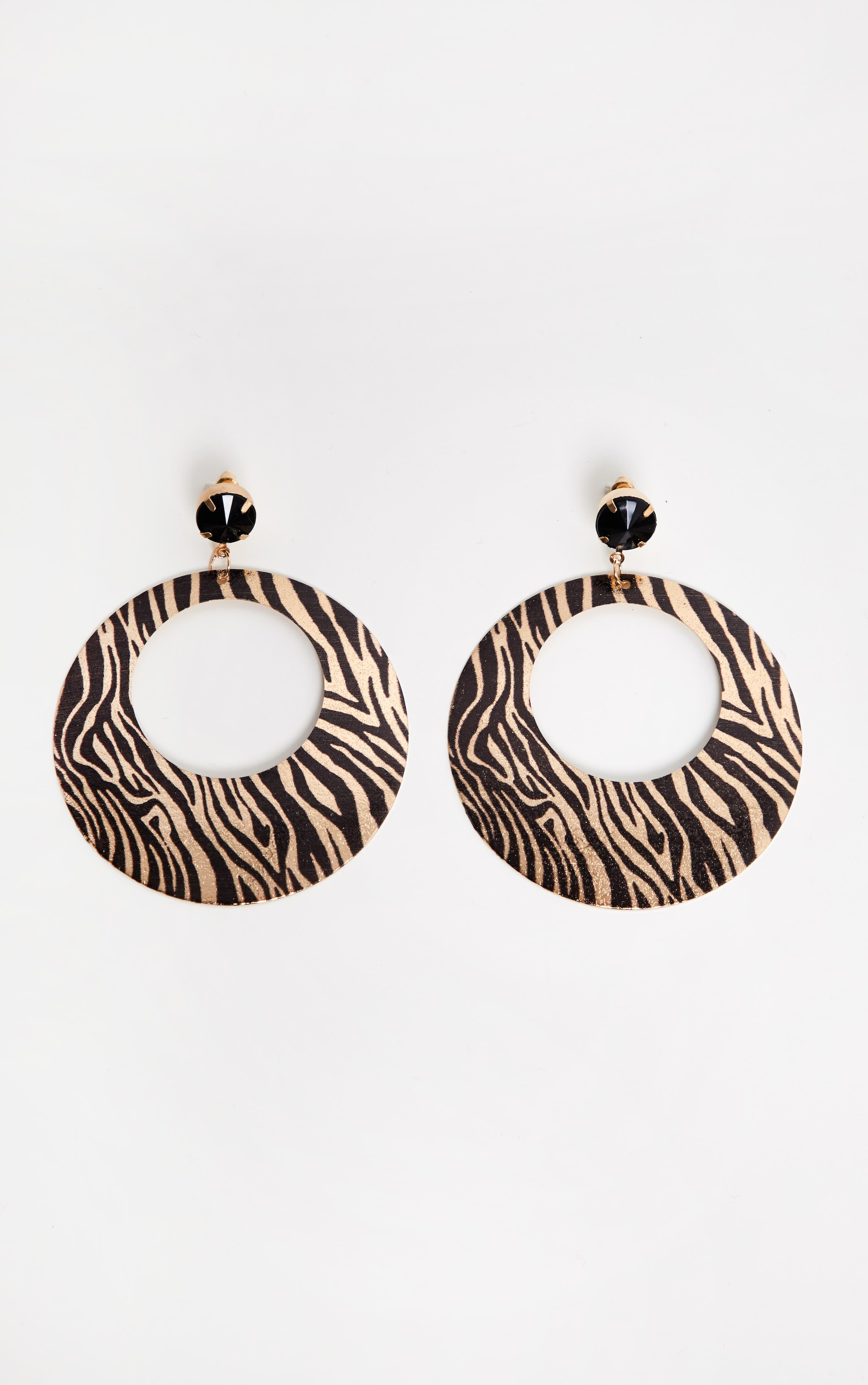 Gold Zebra Print Disc Drop Hoop Earrings 2