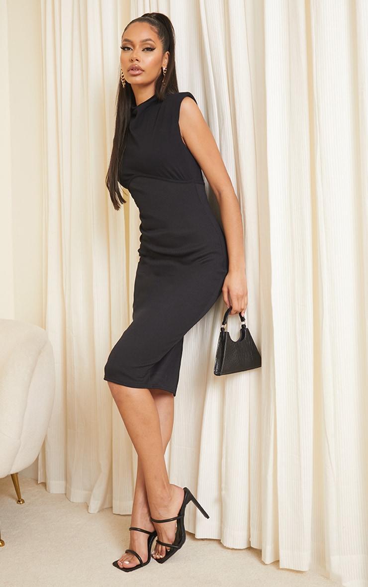 Black Shoulder Pad Underbust Binding Sleeveless Midi Dress 3