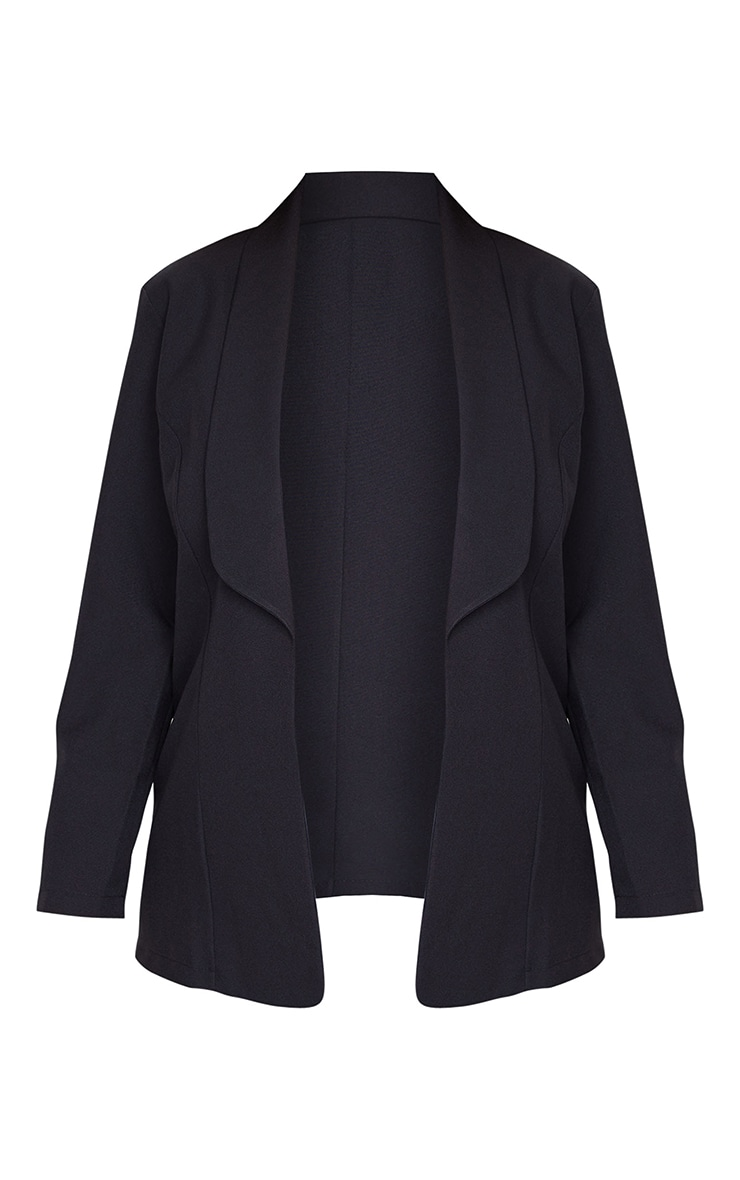 Plus Black Curved Lapel Woven Longline Blazer 5