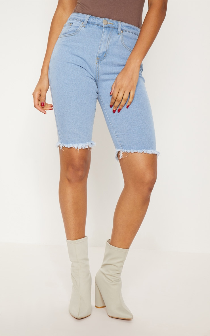 Short skinny mi-long en jean bleu clair  3