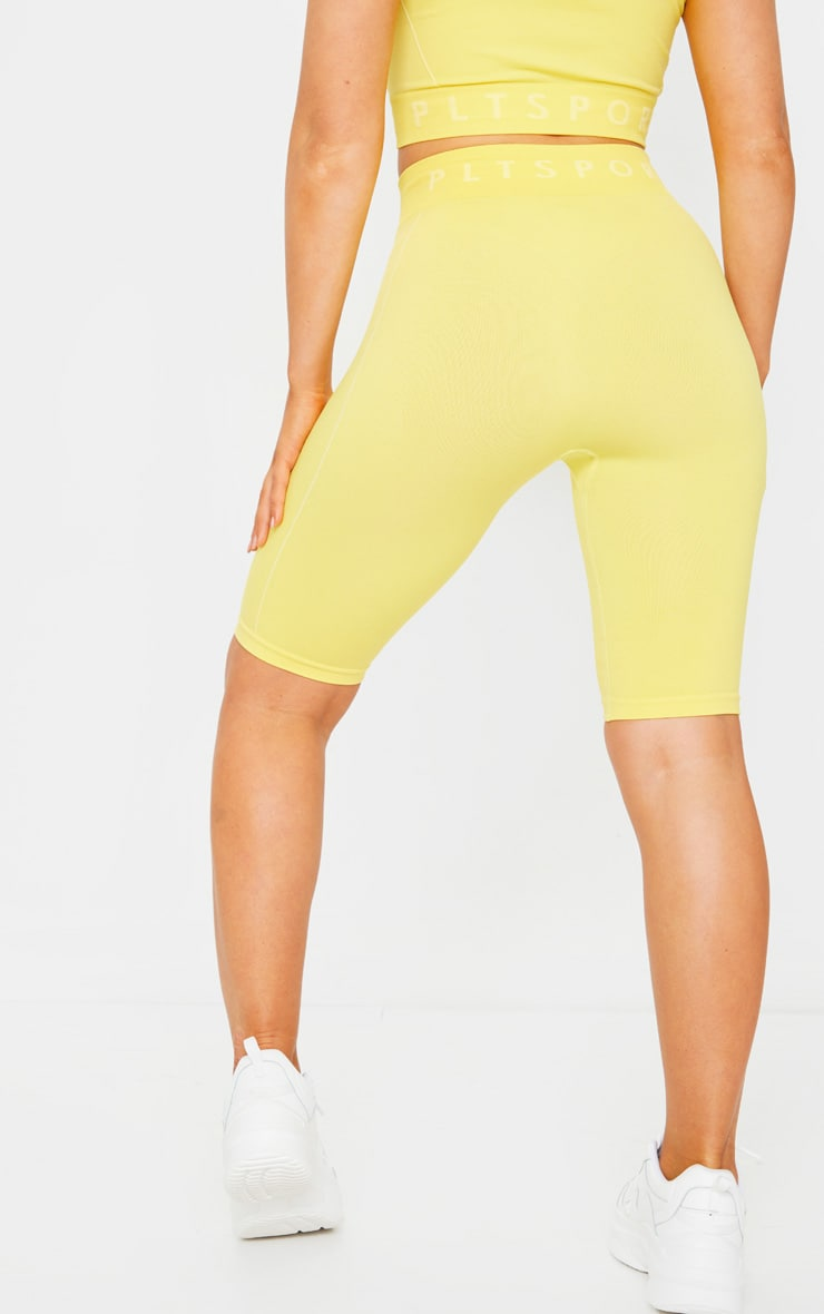 PRETTYLITTLETHING Yellow Sport Linear Detail Seamless Cycle Shorts 3