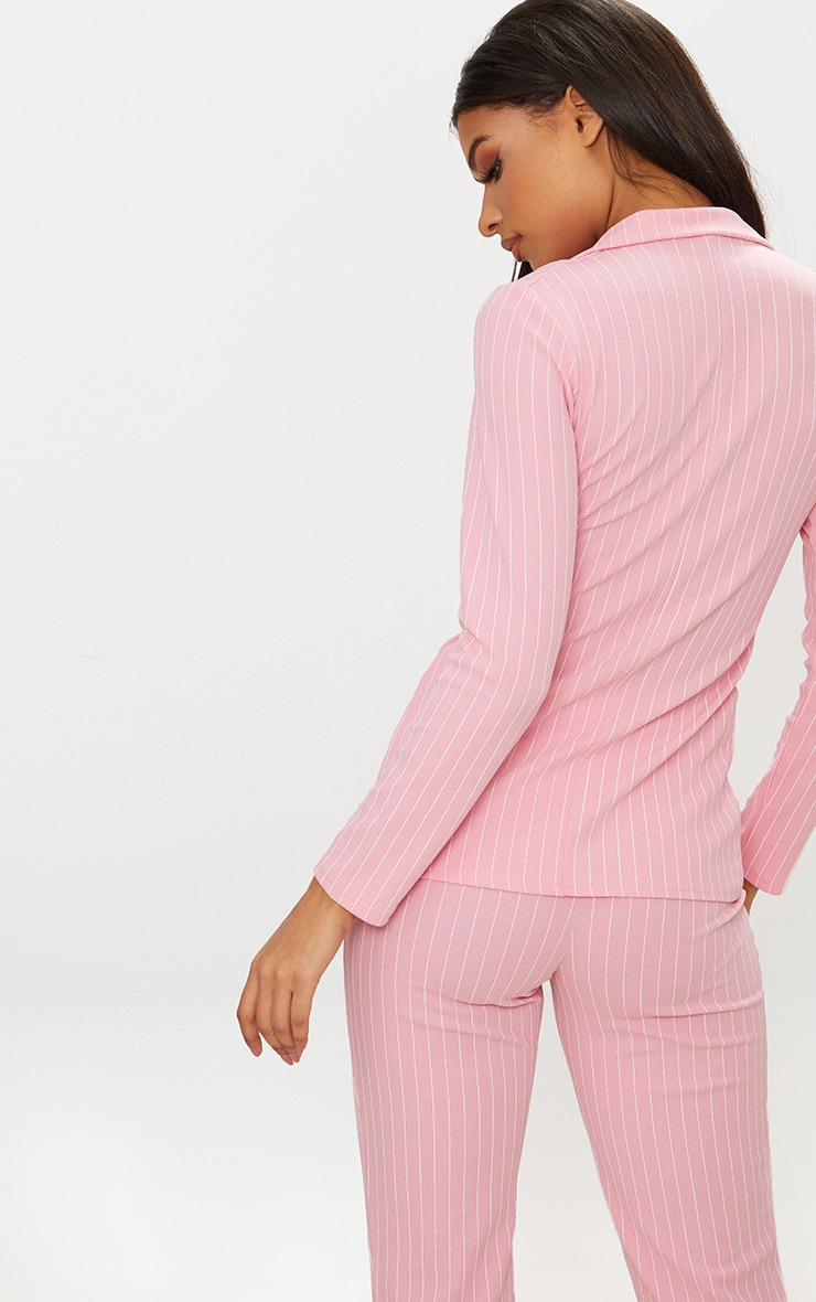 Pink Pinstripe Double Breasted Blazer 2