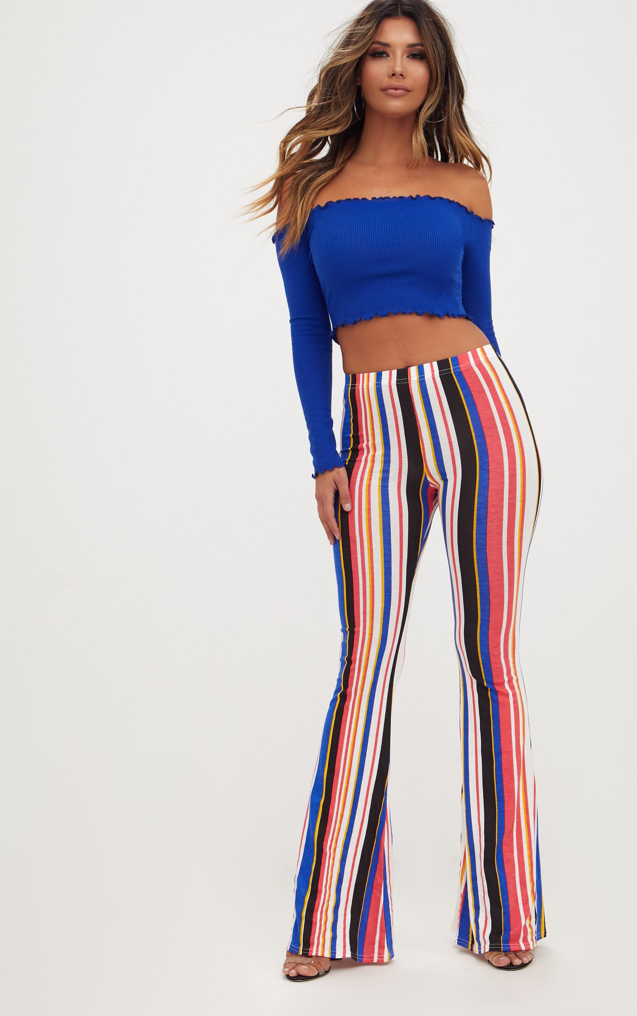 Multi Jersey Stripe Flared Trousers 1