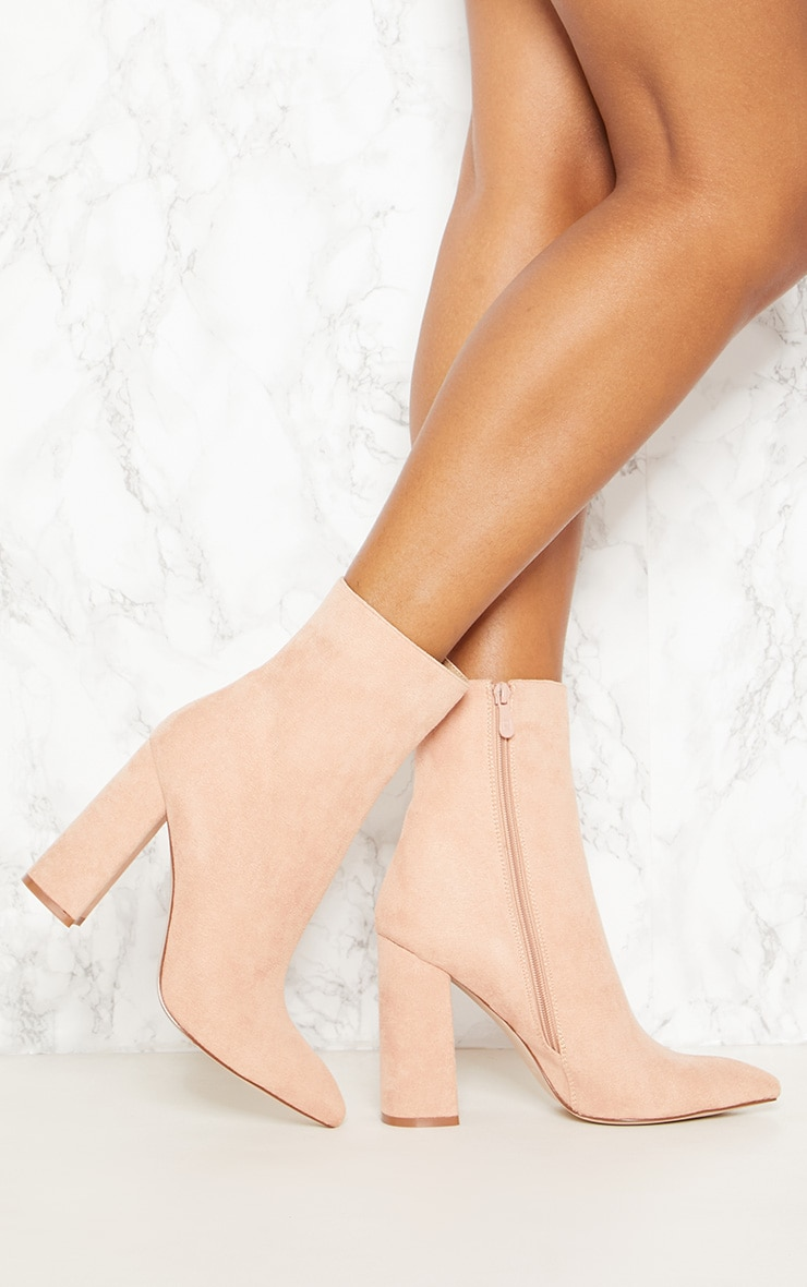 Nude Faux Suede High Point Ankle Boot