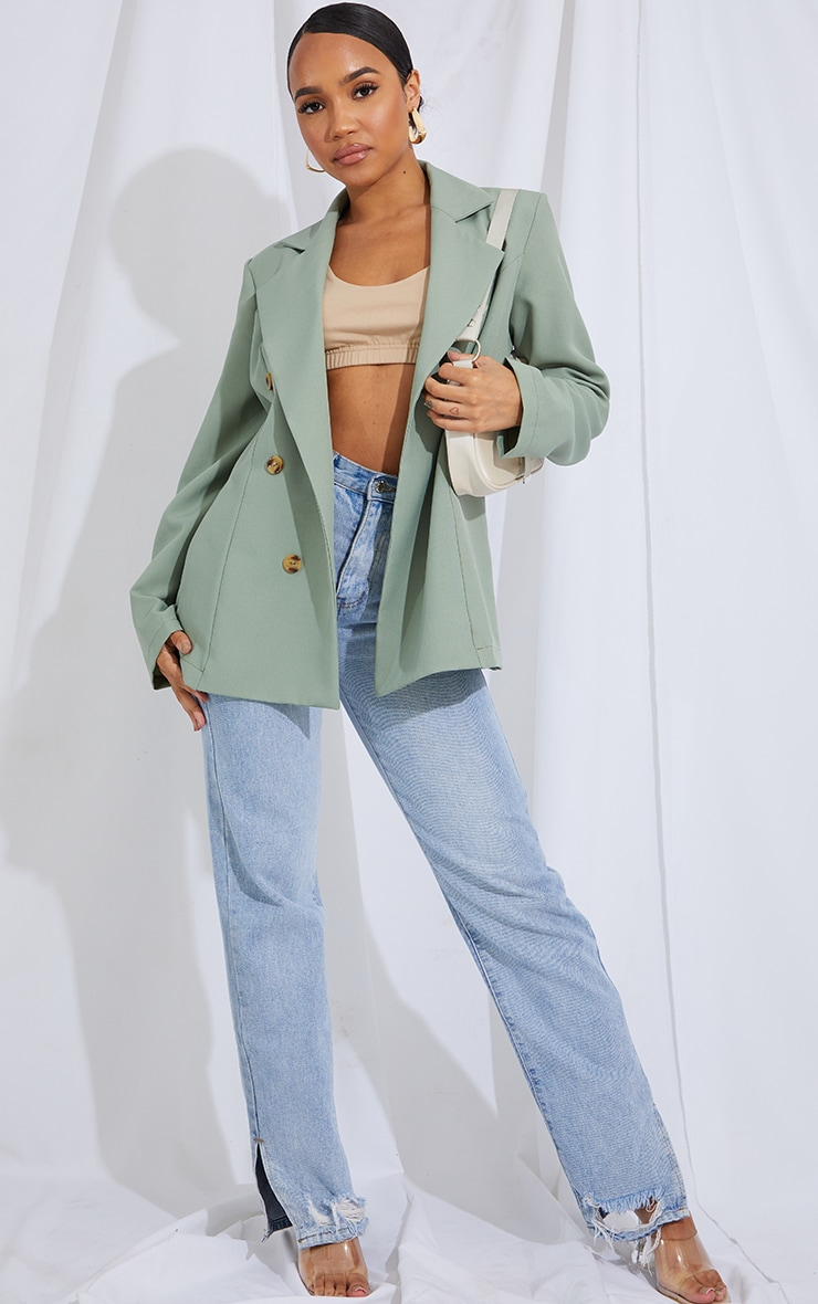 Pale Khaki Woven Oversized Button Down Blazer 3