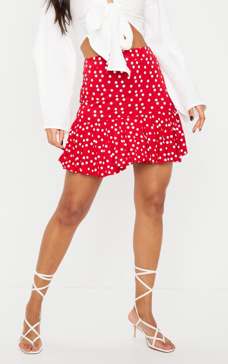 Red Polka Dot Frill Hem Mini Skirt 2