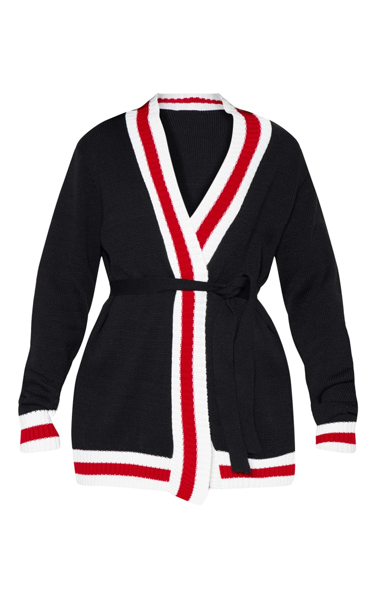 Black Stripe Detail Belted Knitted Cardigan 3