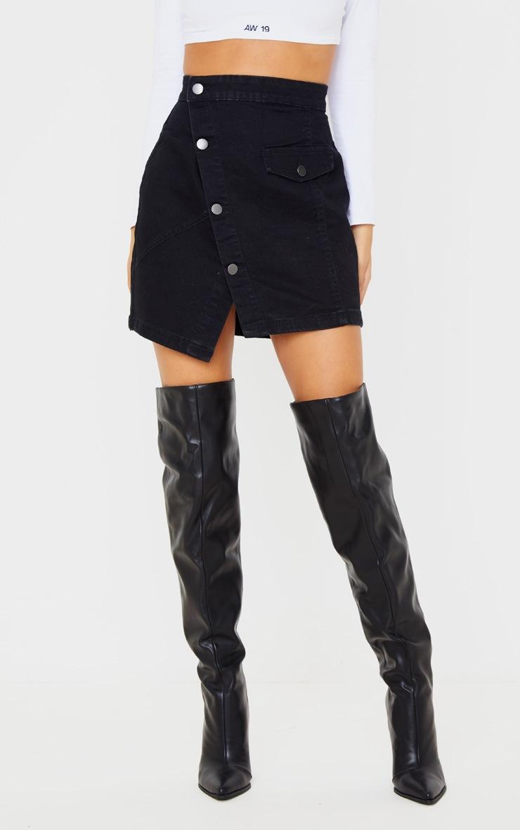 Black Pocket Button Through Asymmetric Denim Skirt 2