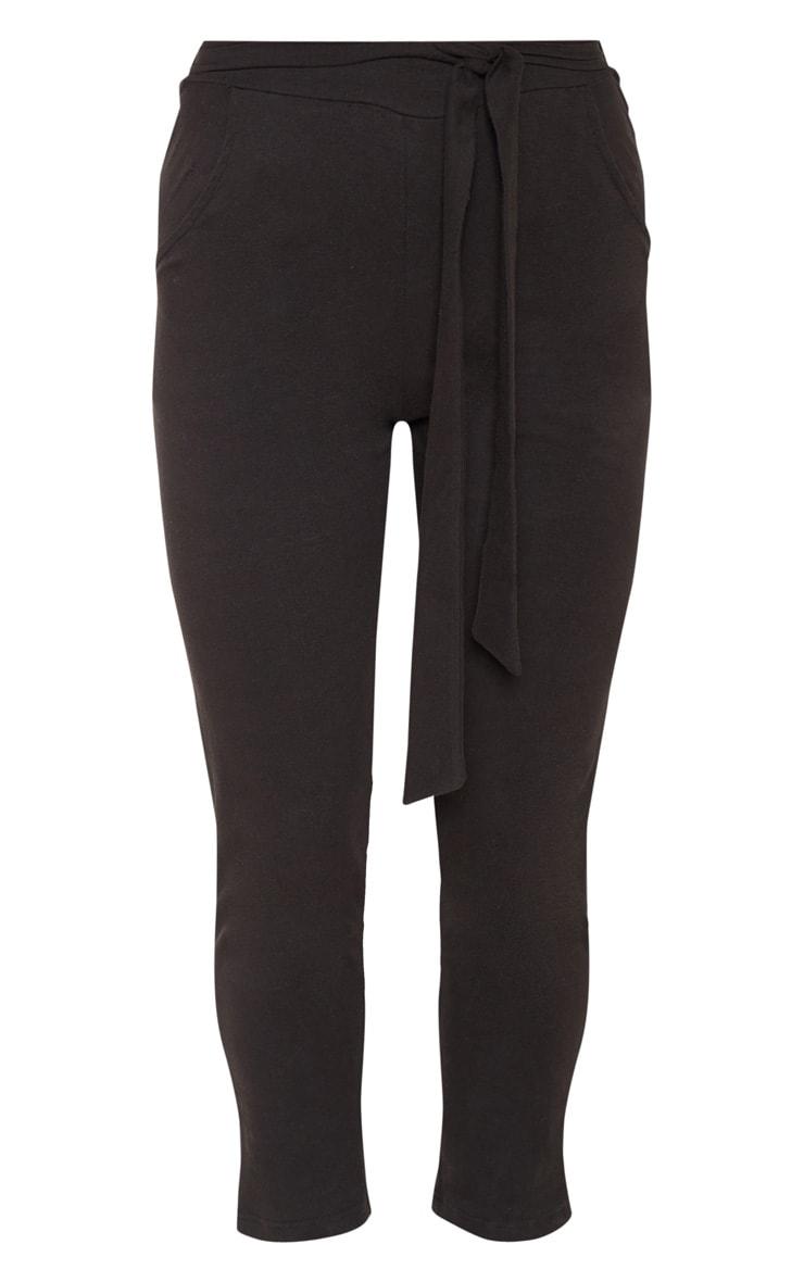 Black Cotton Tie Waist Skinny Trouser 3