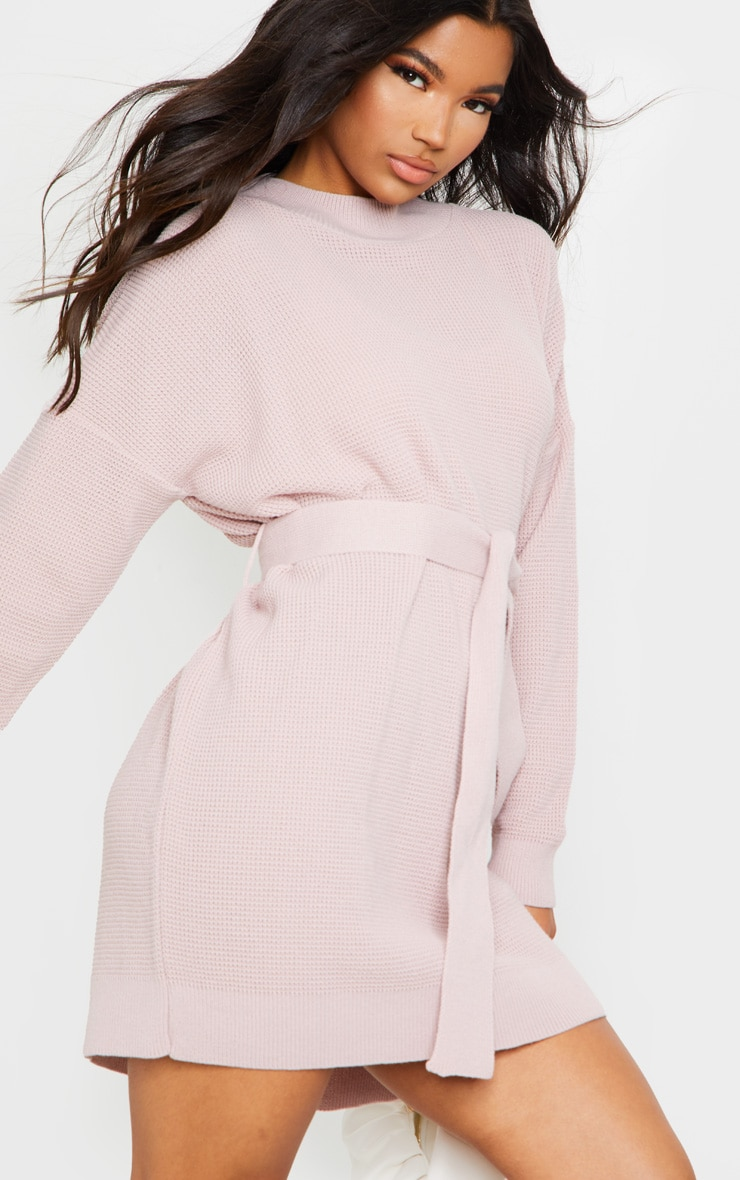Blush Belted Waffle Stitch Jumper Dress 4