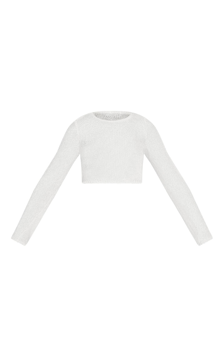 Cream Open Knit Cropped Jumper 3