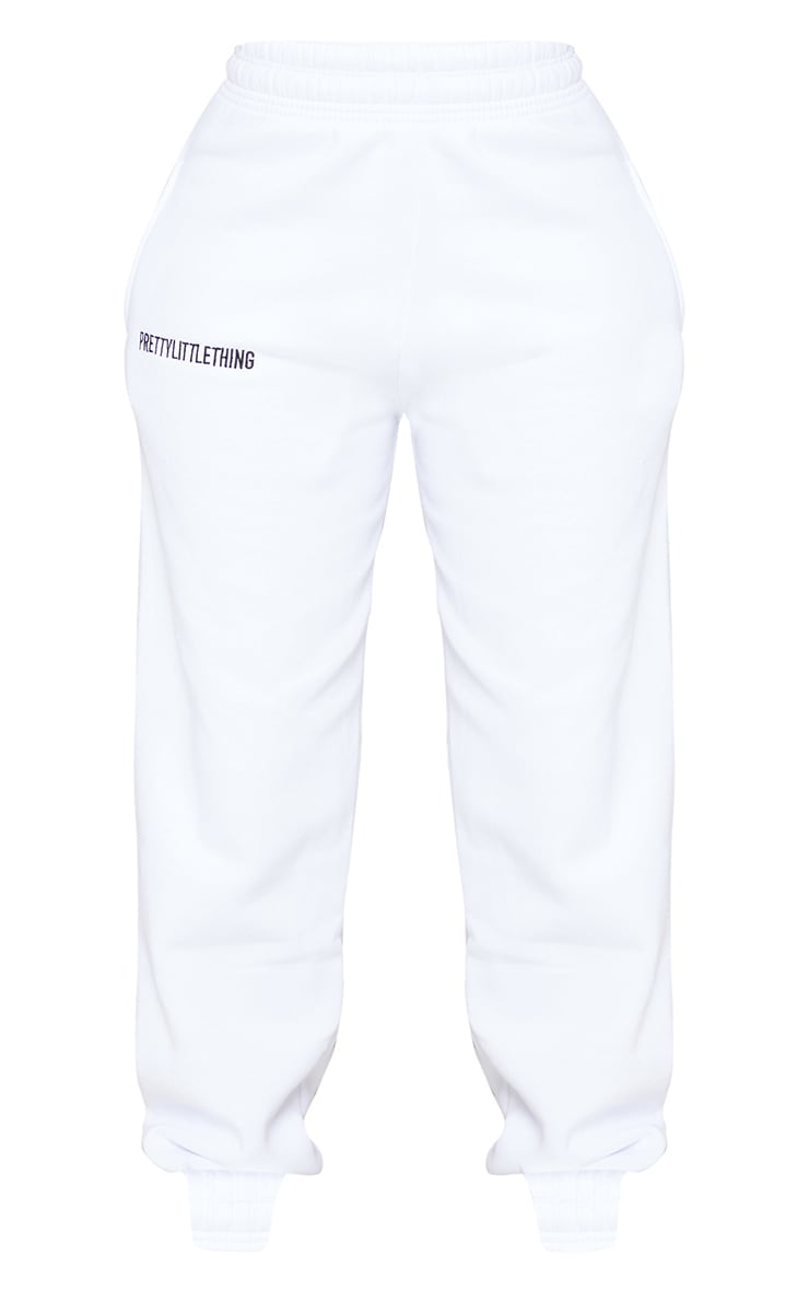 PRETTYLITTLETHING White Embroidered Slogan Joggers 5