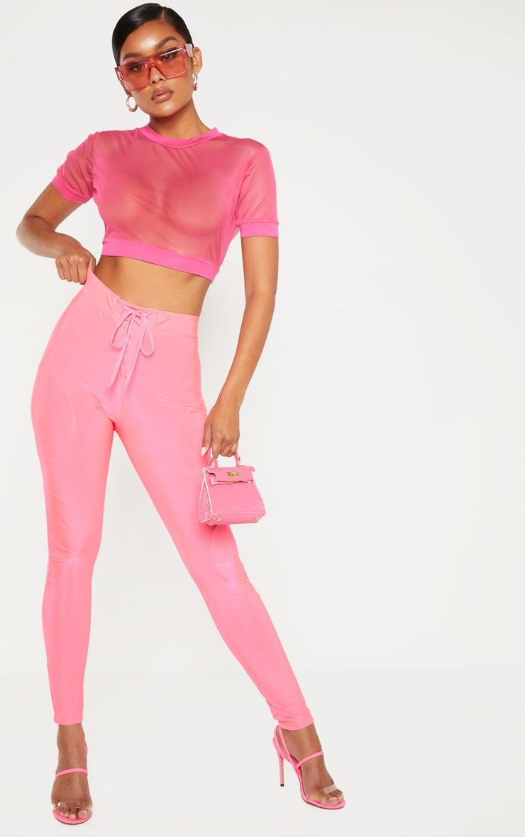 Hot Pink Sheer Mesh Short Sleeve Crop Top 4