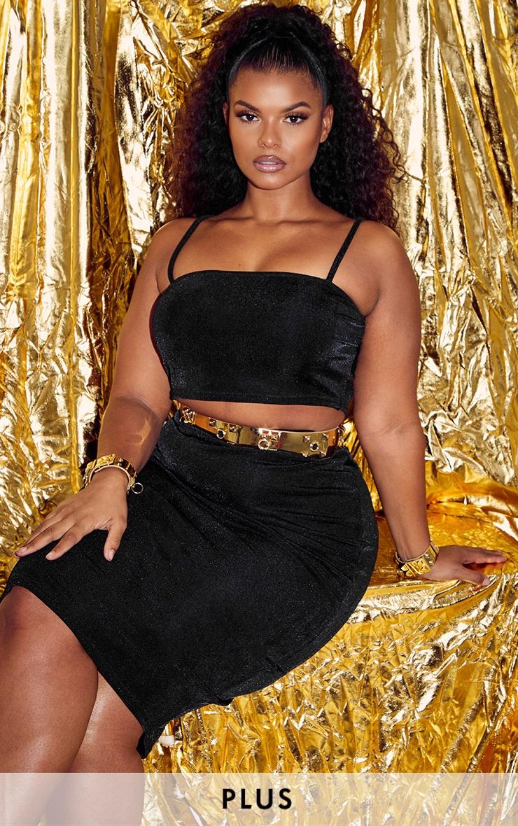Plus Black Slinky Crop Top & Midi Skirt Set 1