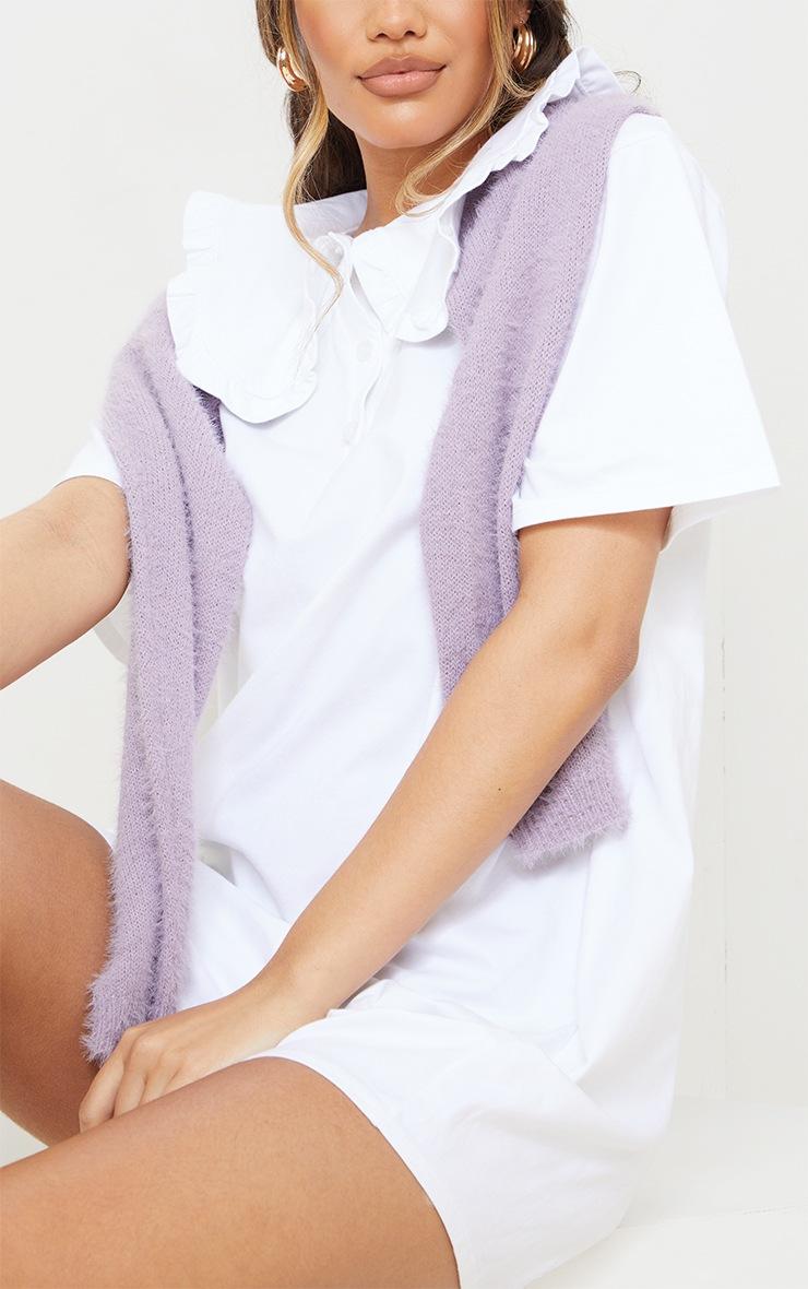 White Cotton Frill Collar Short Sleeve T Shirt Dress 4