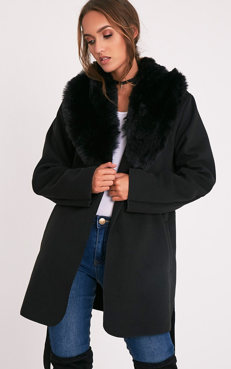 Lydia Black Faux Fur Trimmed Belted Coat