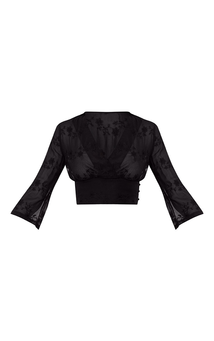 Black Embroidered Plunge Crop Blouse 3